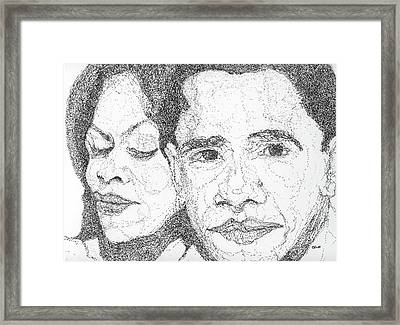Tribute To Michelle And Barack Obama Framed Print by Michelle Gilmore