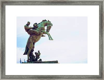Tribute To Range Riders Oklahoma Capitol Framed Print by Toni Hopper
