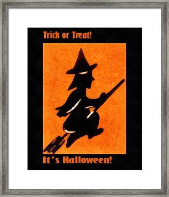 Trick Or Treat Flying Witch Framed Print by Unknown