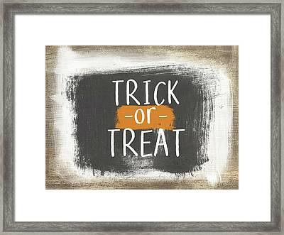 Trick Or Treat Sign- Art By Linda Woods Framed Print by Linda Woods