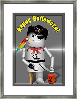 Trick Or Treat Time For Robo-x9 Framed Print