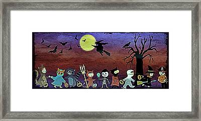 Trick Or Treaters - Grunge Framed Print