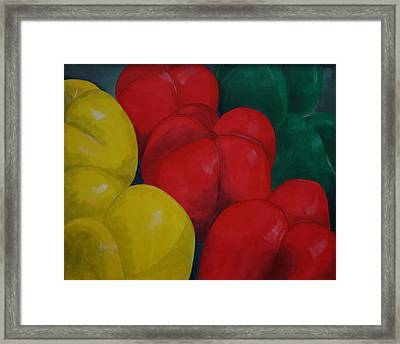 Tricolored Peppers Framed Print