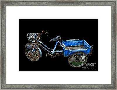 Tricycle In Blue Framed Print by Ty Lee