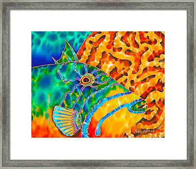 Triggerfish And Brain Coral Framed Print