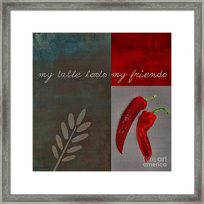 Triloli Kitchen Decor - Red 155b Framed Print by Variance Collections