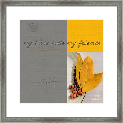 Triloli Kitchen Decor - Yellow 88a Framed Print by Variance Collections
