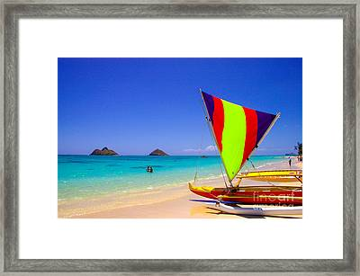 Trimaran At Lanakai Beach Framed Print by Gregory Schultz