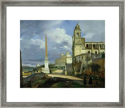 Trinita Dei Monti And The Villa Medici In Rome Framed Print by Francois Marius Granet