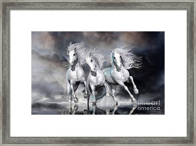 Framed Print featuring the digital art Trinity Galloping Horses Blue by Shanina Conway