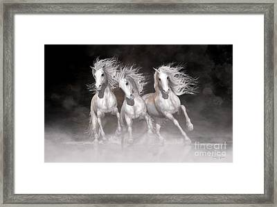 Framed Print featuring the digital art Trinity Horses Neutrals by Shanina Conway