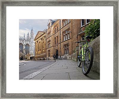Framed Print featuring the photograph Trinity Lane Clare College Cambridge Great Hall by Gill Billington