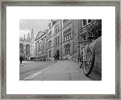 Trinity Lane Clare College Great Hall In Black And White Framed Print by Gill Billington