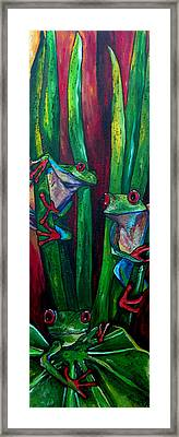 Trinity Of Tree Frogs Framed Print by Patti Schermerhorn