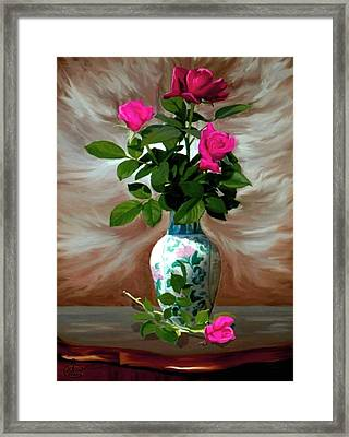 Trinity Roses Framed Print by Ron Chambers