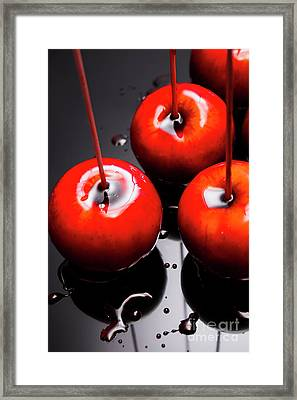 Trio Of Bright Red Home Made Candy Apples Framed Print by Jorgo Photography - Wall Art Gallery