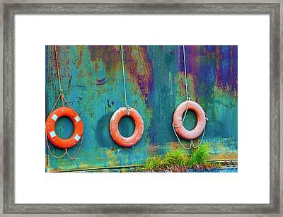 Trio Of Life Buoys Framed Print