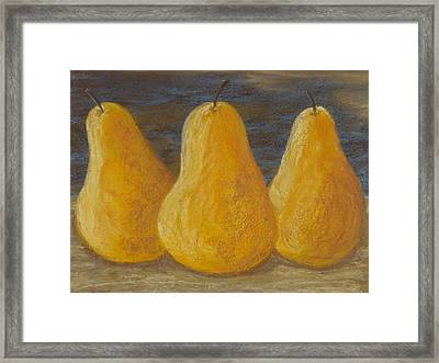 Trio Of Yellow Pears Framed Print by Cheryl Albert