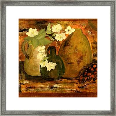 Framed Print featuring the painting Trio Vases by Kathy Sheeran