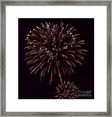 Triple Firework Framed Print by Emily Kelley