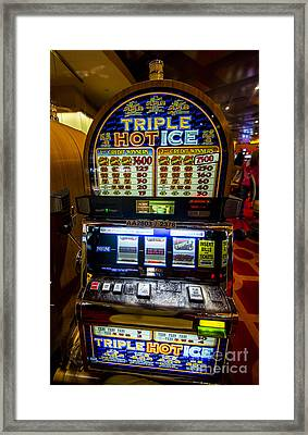 Triple Hot Ice Slot Machine At Lumiere Place Casino Framed Print by David Oppenheimer