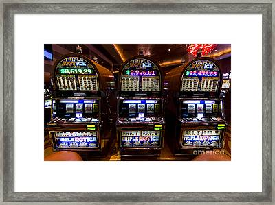 Triple Hot Ice Slot Machines At Lumiere Place Casino Framed Print by David Oppenheimer