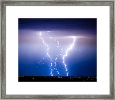 Triple Lightning Framed Print