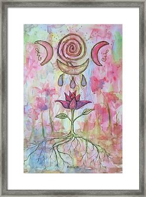 Triple Moon Blessings Framed Print by Rachael Rose Zoller