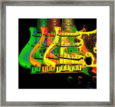 Framed Print featuring the photograph Triple Pickguards by Guitar Wacky