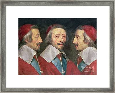 Triple Portrait Of The Head Of Richelieu Framed Print by Philippe de Champaigne