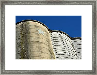 Triple Silo With Star Framed Print