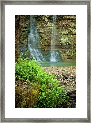 Tripple Falls In Springtime Framed Print by Iris Greenwell