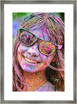 Trippy Colorful Woman Portrait Deep Dream Framed Print by Matthias Hauser