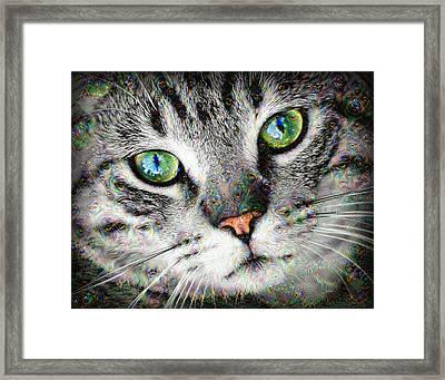 Trippy Deep Dream Cat Portrait Framed Print