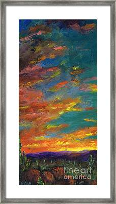 Triptych 1 Desert Sunset Framed Print by Frances Marino