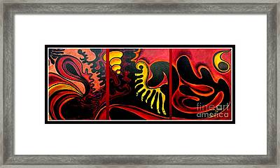 Framed Print featuring the painting Triptych Abstract Vision by Jolanta Anna Karolska