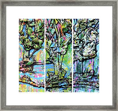 Framed Print featuring the painting Triptych Of Three Trees By A Brook by Genevieve Esson