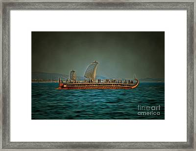 Trireme Olympias Sailing With Open Sails Framed Print