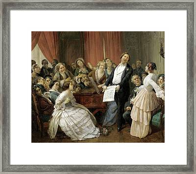 Triumph Of A Tenor At A Musical Matinee Framed Print by Francois-Auguste Biard