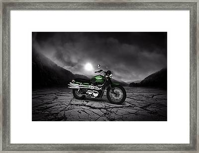Triumph Scrambler 900 2012 Mountains Framed Print by Aged Pixel