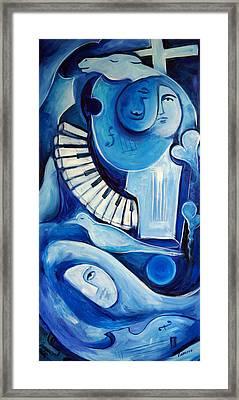 Triumphe Bleu Framed Print by Valerie Vescovi