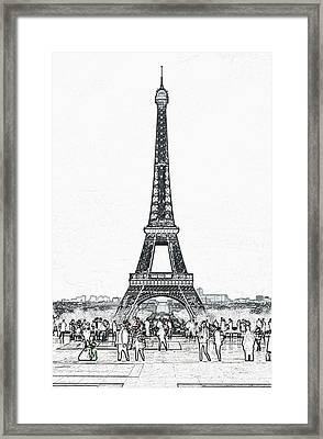 Trocadero Crowd Enjoying Eiffel Tower View Colored Pencil Digital Art Framed Print by Shawn O'Brien