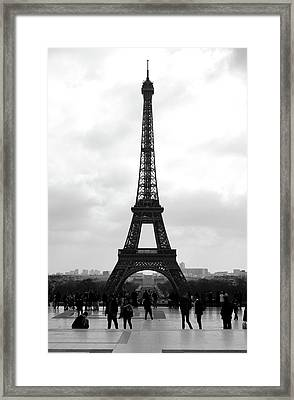 Trocadero Crowd Enjoying Eiffel Tower View Painterly Fresco Digital Art Black And White Framed Print