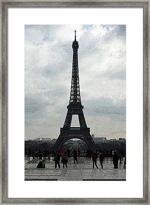 Trocadero Crowd Enjoying Eiffel Tower View Painterly Fresco Digital Art Framed Print by Shawn O'Brien