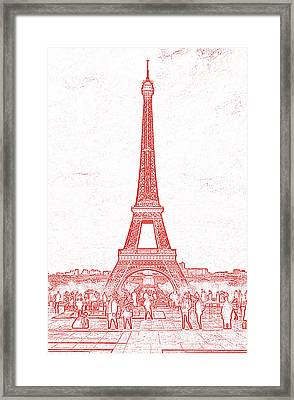 Trocadero Crowd Enjoying Eiffel Tower View Stamp Digital Art Framed Print by Shawn O'Brien