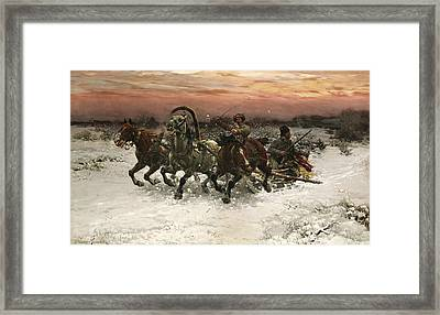 Troika Pursued By Wolves Framed Print by Alfred Kowalski