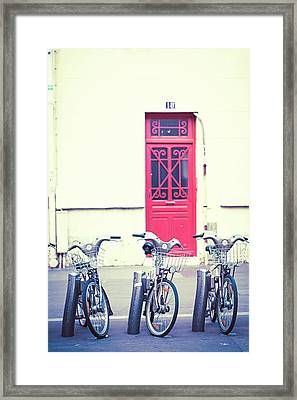 Framed Print featuring the photograph Trois - Three Bicycles In Paris by Melanie Alexandra Price