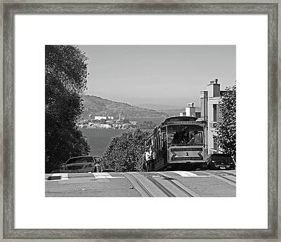 Trolley Descending Into San Francisco Black And White Framed Print