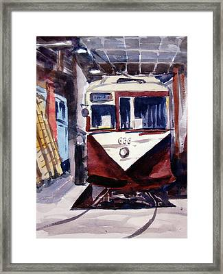 Framed Print featuring the painting Trolley Maintenance by Ron Stephens