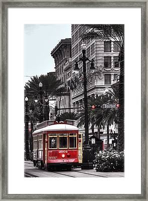 Trolley On Bourbon And Canal  Framed Print by Tammy Wetzel